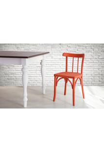 Cadeira De Madeira Estilo Bar Torneada Com Encosto E Assento Anatômico Vermelha Justine - 43X47,5X78,5 Cm