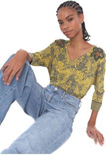 Camiseta Desigual Malcom Amarela/Cinza