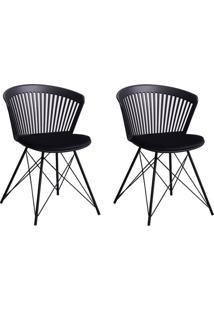 Conjunto Com 2 Cadeiras Pyon Preto
