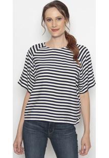 Camiseta Com Recortes & Zíper- Off White & Azul Marinholevis