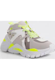 Tênis Feminino Chunky Sneaker Recorte Neon Zatz