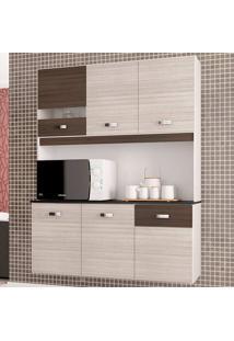 Cozinha Compacta Suspensa 6 Portas Lili - Poquema - Amendoa / Capuccino
