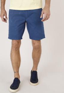 Bermuda De Sarja Masculina Reta Alfaiatada Com Cordão Azul Marinho