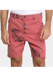 Bermuda Jeans Ellus Floral Masculina - Masculino-Rosa