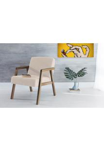 Poltrona Sala De Madeira Decorativa Bege Charlie - Verniz Capuccino \ Tec.924 - 60X74X84 Cm