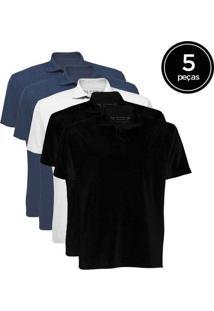Kit De 5 Camisas Polo Masculinas De Várias Cores A
