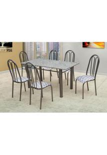 Conjunto De Mesa Carla Com 6 Cadeiras Craqueado Preto Capitonê