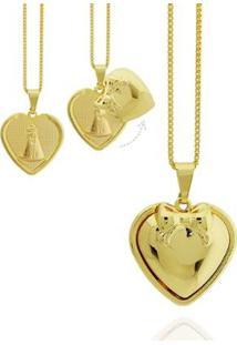 Colar Coração Relicário Nossa Senhora Semi Joia - Feminino-Dourado