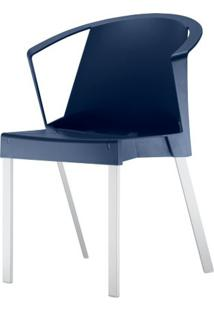 Cadeira Shine Assento Azul Com Bracos Base Aluminio Cinza - 54100 Sun House