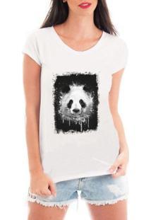 Camiseta Criativa Urbana Panda - Feminino-Branco