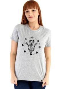 Baby Look Ouroboros Giraffe And Moons Feminino - Feminino-Cinza