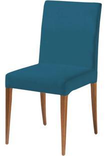 Cadeira Flox Assento Cor Azul Com Base Madeira Nogal - 46526 - Sun House