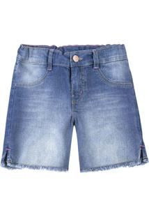 Bermuda Jeans Infantil Menina Com Elástico Hering Kids