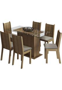 Sala De Jantar Madesa Base De Madeira Com Tampo De Vidro E 6 Cadeiras Molly - Rustic/ Pérola