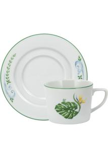 Xicara Chá C/ Pires Porcelana Schmidt - Dec. Tropical