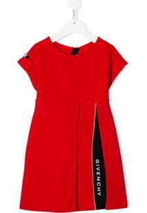 Givenchy Kids Vestido Mangas Curtas Com Logo - Vermelho