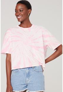 Camiseta Feminina Curta Tie Dye - Rosa