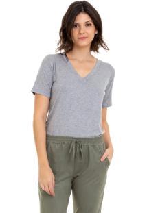 Camiseta Aura Bã¡Sica Cinza Mescla - Cinza/Verde - Feminino - Dafiti