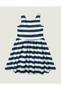 Vestido Listrado Curto Godê Menina Malwee Kids Azul Marinho - 8