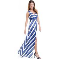 96430cdb96 Dafiti. Vestido Longo 101 Resort Wear Festa Estampado Crepe Listrado Azul