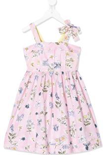 Il Gufo Vestido Evasê Com Estampa Butterfly Rosa