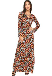 625c1cc7c Vestido Malwee Longo Floral Preto/Laranja