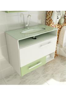 Gabinete Para Banheiro 80 Cm Com 2 Peças Linea 17 Branco E Verde Tomdo