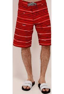 Bermuda Listrada Masculina Vermelho