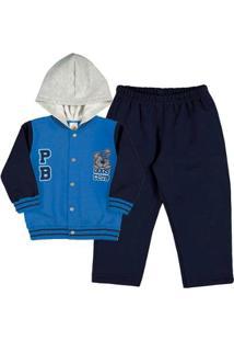 Conjunto Bebê Menino Moletom - Masculino-Azul