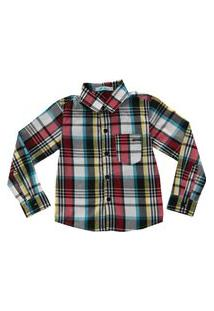 Camisa Bata Infantil Masculina Tecido Xadrez Com Bolso