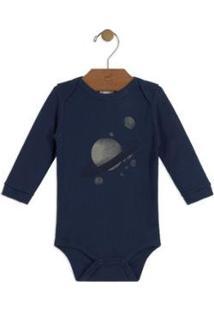 Body Bebê Suedine Up Baby Masculino - Masculino-Azul Escuro
