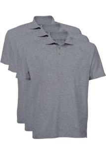 Kit De 3 Camisas Polo Masculinas Cinza