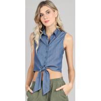 cefda21165 Camisa Jeans Feminina Com Amarração Sem Mangas Azul Médio
