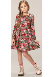 Vestido Vermelho Evasê Floral