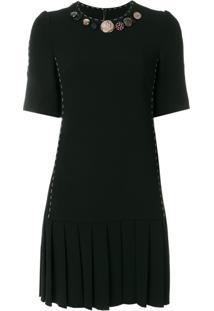 Dolce & Gabbana Vestido Com Pregas - Preto