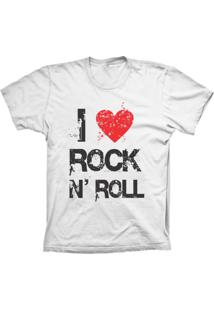 Camiseta Baby Look Lu Geek I Love Rock Branco