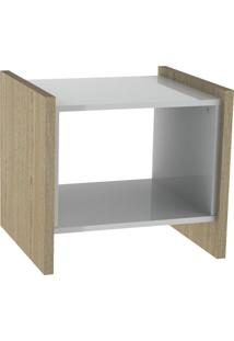 Mesa Lateral Oriental Natural E Branco