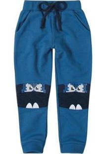 Calça Infantil Jogging Com Aplique Zig Zig Zaa Masculina - Masculino-Azul Claro