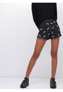 Short Hot Pants Bordado Em Jeans Black