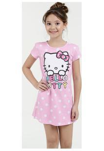 04b16b10f Camisola Infantil Estampa Hello Kitty Manga Curta Sanrio