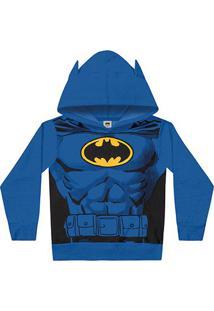 Jaqueta Moletom Infantil Fakini Batman Com Capuz - Masculino-Azul