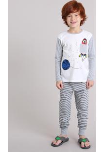 Pijama Infantil Com Estampa Espacial Que Brilha No Escuro Com Bolso Manga Longa Off White