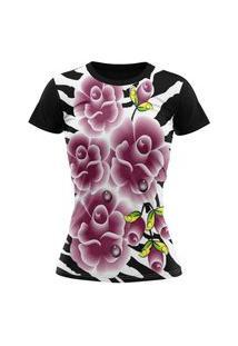 Camiseta Feminina Lucinoze Camisetas Manga Curta Rosas Preta