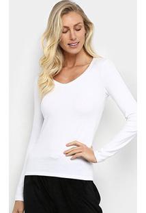 Camiseta Hering Básica Manga Longa Feminina - Feminino-Branco