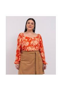 Blusa Floral Com Manga Bufante E Decote Princesa Curve & Plus Size   Ashua Curve E Plus Size   Laranja   G