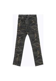 Calça Juvenil Jogger Camuflada Verde Militar