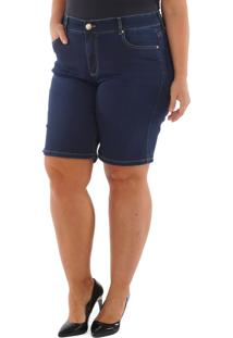 Bermuda Loony Special Ciclista Jeans Com Trançado No Bolso Jeans Azul