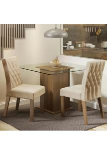 Conjunto Sala De Jantar Madesa Cassia Mesa Tampo De Vidro Com 2 Cadeiras Marrom - Marrom - Dafiti