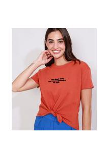 "Camiseta Feminina Manga Curta Cropped Best Time"" Flocada Com Nó Decote Redondo Cobre"""