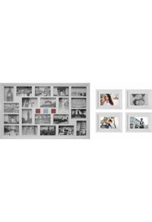 Conjunto Painel E 4 Porta-Retratos 53X138,5 Cm Nossa Vida Branco